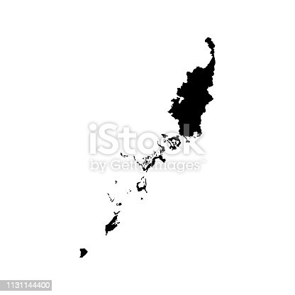 Vector isolated illustration icon with black shape silhouette of simplified map of Palau (Oceania state). White background