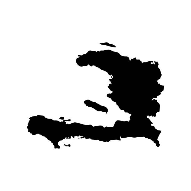 Vector isolated illustration icon with black silhouette of simplified map of Haiti Vector isolated illustration icon with black silhouette of simplified map of Haiti. White background drawing of a haiti map stock illustrations