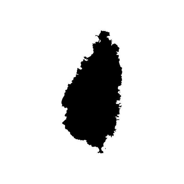 bildbanksillustrationer, clip art samt tecknat material och ikoner med vector isolerade illustration ikonen med svart silhuett av förenklad karta över saint lucia. vit bakgrund - saint lucia