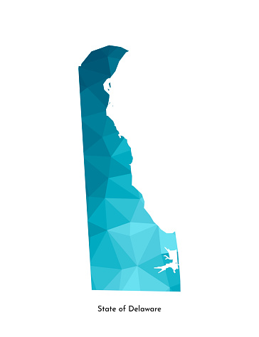 Vector isolated illustration icon with simplified blue map's silhouette of State of Delaware (USA). Polygonal geometric style. White background