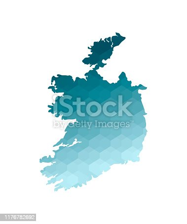 istock Vector isolated illustration icon with simplified blue silhouette of Republic of Ireland map. Polygonal geometric style. White background 1176782692
