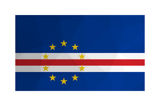 Vector isolated illustration. National Cabo Verde flag with blue, red, white stripes and yellow stars. Official symbol of Cape Verde. Creative design in low poly style with triangular shapes. Gradient effect.