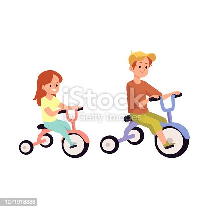 istock Vector isolated illustration of a boy and girl riding bicycles 1271918338