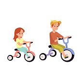 Brother and sister ride on a tricycle. Smiling boy and girl have fun together. Flat cartoon vector illustration isolated on a white background.