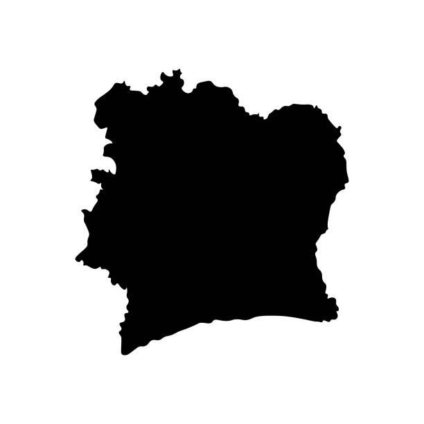 Vector isolated illustration of political map African state - Cote D'ivoire Vector isolated illustration of political map African state - Cote D'ivoire. Black silhouette. White background côte d'ivoire stock illustrations