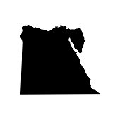 Vector isolated illustration of political map African state - Egypt. Black silhouette. White background
