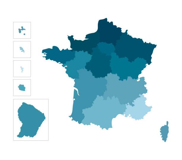 wektor izolowane ilustracja uproszczonej mapy administracyjnej francji. granice regionów. - francja stock illustrations