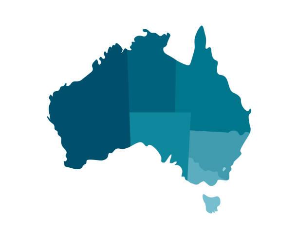 ilustraciones, imágenes clip art, dibujos animados e iconos de stock de vector ilustración aislada del mapa administrativo simplificado de australia. fronteras de las regiones, incluyendo sólo los territorios más cercanos. siluetas de color azul caqui - australia