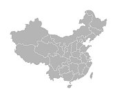 Vector isolated illustration of simplified administrative map of China. Borders of the provinces (regions). Grey silhouettes. White outline.