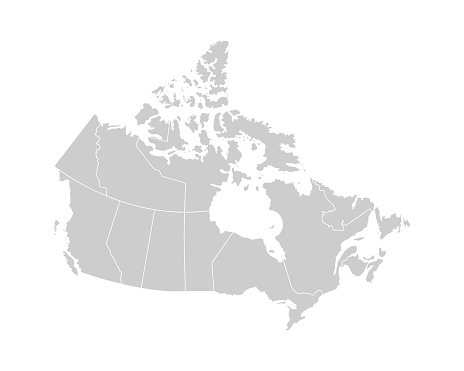 Vector isolated illustration of simplified administrative map of Canada. Borders of the provinces (regions). Grey silhouettes. White outline.