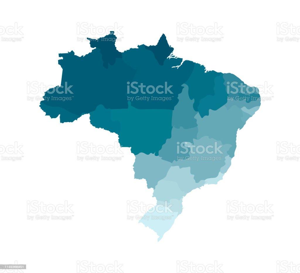 Vector a ilustração isolada do mapa administrativo simplificado de Brasil. Fronteiras das regiões. Silhuetas cáqui azuis coloridas - Vetor de Alagoas royalty-free
