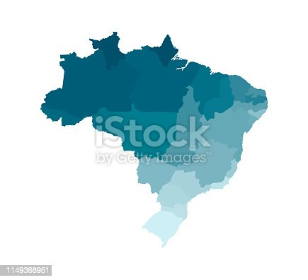 istock Vector isolated illustration of simplified administrative map of Brazil. Borders of the regions. Colorful blue khaki silhouettes 1149368951