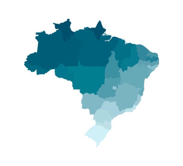 ilustrações, clipart, desenhos animados e ícones de vector a ilustração isolada do mapa administrativo simplificado de brasil. fronteiras das regiões. silhuetas cáqui azuis coloridas - brazil