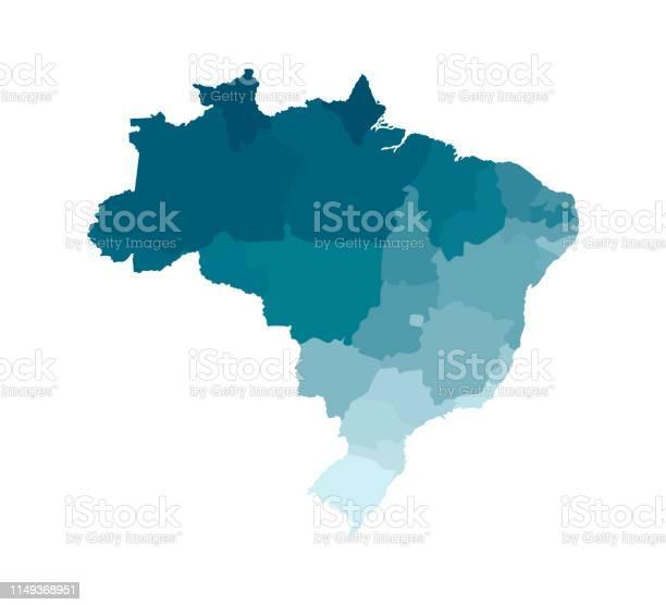 Vetores de Vector A Ilustração Isolada Do Mapa Administrativo Simplificado De Brasil Fronteiras Das Regiões Silhuetas Cáqui Azuis Coloridas e mais imagens de Alagoas