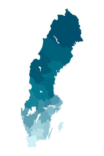 bildbanksillustrationer, clip art samt tecknat material och ikoner med vektor isolerad illustration av förenklad administrativ karta över sverige. gränsar av länen. färgglada blå khaki silhuetter - sweden map