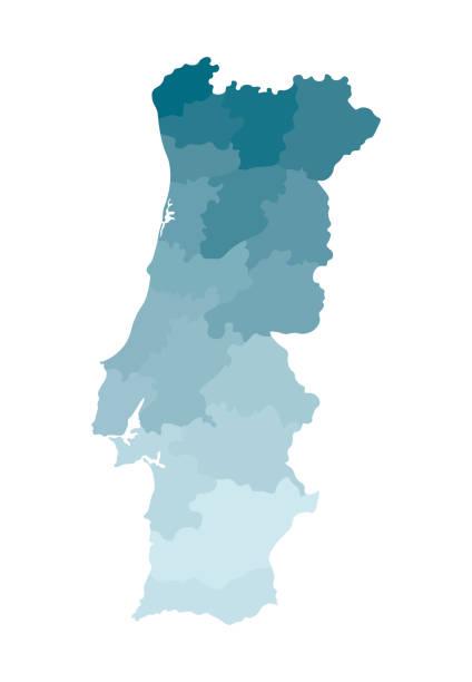 ilustrações de stock, clip art, desenhos animados e ícones de vector isolated illustration of simplified administrative map of portugal. borders of the regions. colorful blue khaki silhouettes - aveiro