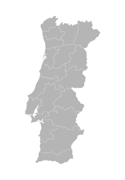 ilustrações de stock, clip art, desenhos animados e ícones de vector isolated illustration of simplified administrative map of portugal. borders of the provinces (regions). grey silhouettes. white outline - aveiro