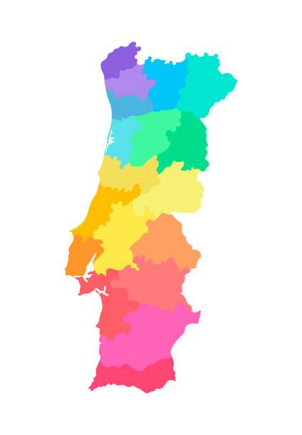 ilustrações de stock, clip art, desenhos animados e ícones de vector isolated illustration of simplified administrative map of portugal. borders of the regions. multi colored silhouettes - aveiro