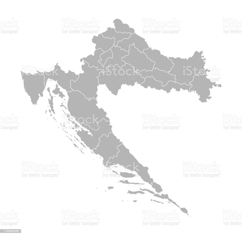 Carte Administrative Croatie.Illustration Vectorielle Isolee De La Carte Administrative