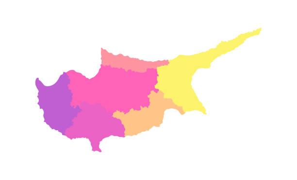 vector isolierte abbildung der vereinfachten verwaltungskarte von zypern. grenzen der bezirke (regionen). multi farbige silhouetten - paphos stock-grafiken, -clipart, -cartoons und -symbole