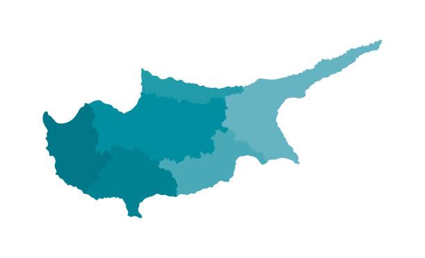 vektor isolierte abbildung der vereinfachten verwaltungskarte von zypern. grenzen der bezirke (regionen). bunte blaue khaki-silhouetten - paphos stock-grafiken, -clipart, -cartoons und -symbole
