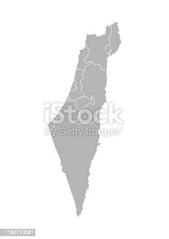 istock Vector isolated illustration of simplified administrative map of Israel. Borders of the districts (regions). Grey silhouettes. White outline 1160710581