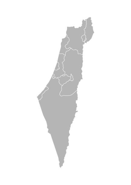 ilustrações, clipart, desenhos animados e ícones de vector a ilustração isolada do mapa administrativo simplificado de israel. beiras dos distritos (regiões). silhuetas cinzentas. esboço branco - israel