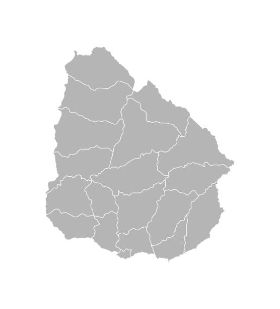 Vector isolated illustration of simplified administrative map of Uruguay. Borders of the departments (regions). Grey silhouettes. White outline Vector isolated illustration of simplified administrative map of Uruguay. Borders of the departments (regions). Grey silhouettes. White outline. canelones stock illustrations