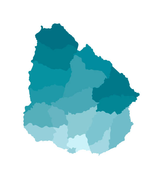 Vector isolated illustration of simplified administrative map of Uruguay. Borders of the departments (regions). Colorful blue khaki silhouettes Vector isolated illustration of simplified administrative map of Uruguay. Borders of the departments (regions). Colorful blue khaki silhouettes. canelones stock illustrations