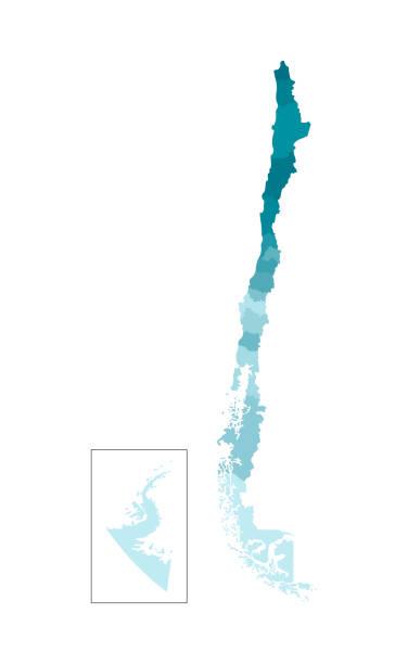 şili basitleştirilmiş idari harita vektör izole illustration. bölgelerin sınırları. renkli mavi haki siluetleri - şili stock illustrations