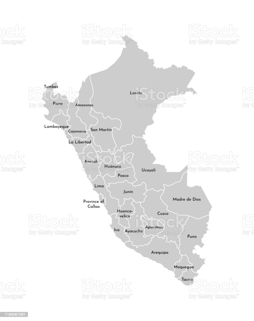 Peru Karte Umriss.Vektorisolierte Abbildung Der Vereinfachten Verwaltungskarte