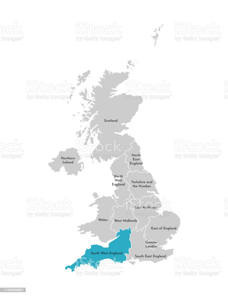 Simplified Map Of London.Vector Isolated Illustration Of Simplified Administrative Map Of The