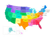 Vector isolated illustration of simplified administrative map of USA (United States of America). Borders and names of the states. Multi colored silhouettes.