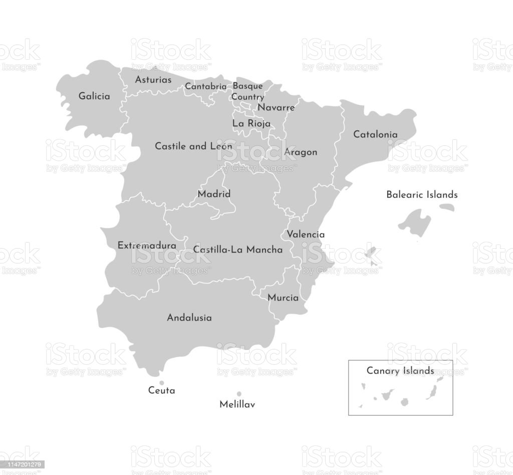 Map Of Spain Valencia.Vector Isolated Illustration Of Simplified Administrative Map Of