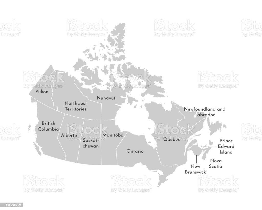 Carte Administrative Canada.Illustration Vectorielle Isolee De La Carte Administrative