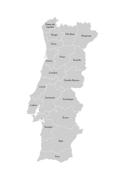 ilustrações de stock, clip art, desenhos animados e ícones de vector isolated illustration of simplified administrative map of portugal. borders and names of the provinces (regions). grey silhouettes. white outline - aveiro