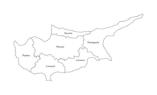vector isolierte abbildung der vereinfachten verwaltungskarte von zypern. grenzen und namen der bezirke (regionen). silhouetten der schwarzen linie - paphos stock-grafiken, -clipart, -cartoons und -symbole