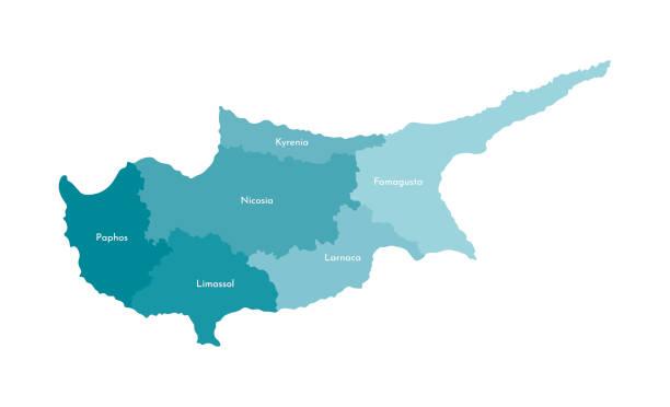 vector isolierte abbildung der vereinfachten verwaltungskarte von zypern. grenzen und namen der bezirke (regionen). bunte blaue khaki-silhouetten - paphos stock-grafiken, -clipart, -cartoons und -symbole