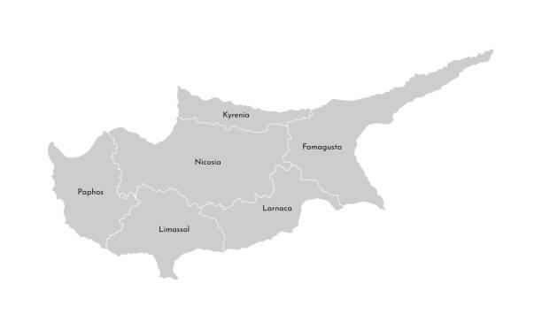 vektor isolierte abbildung der vereinfachten verwaltungskarte von zypern. grenzen und namen der bezirke (regionen). graue silhouetten. weißer umriss - paphos stock-grafiken, -clipart, -cartoons und -symbole