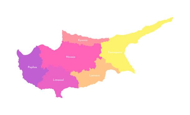 vektor isolierte abbildung der vereinfachten verwaltungskarte von zypern. grenzen und namen der bezirke (regionen). mehrfarbige silhouetten - paphos stock-grafiken, -clipart, -cartoons und -symbole