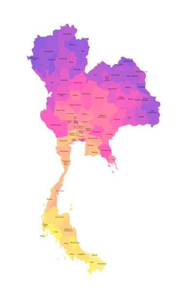 wektor izolowane ilustracja uproszczonej mapy administracyjnej tajlandii. granice i nazwy regionów. wielokolorowe sylwetki - tajlandia stock illustrations