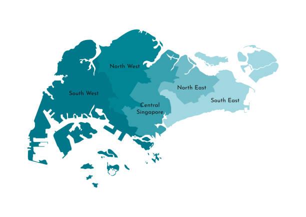 stockillustraties, clipart, cartoons en iconen met vector geïsoleerde illustratie van vereenvoudigde administratieve kaart van singapore. grenzen en namen van de regio's. kleurrijke blauwe kaki silhouetten - singapore