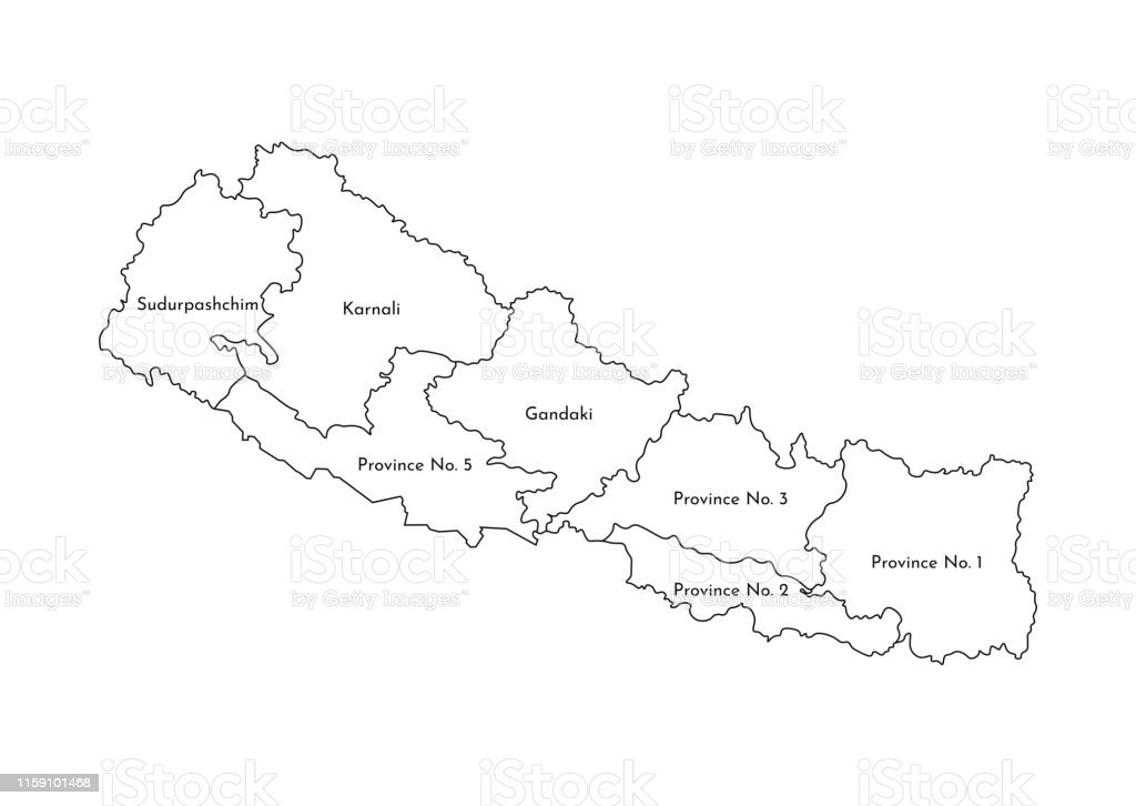 Nepal Karte Download.Vector Isolated Illustration Of Simplified Administrative