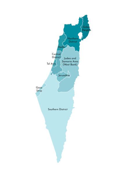 vektor isolierte abbildung der vereinfachten verwaltungskarte israels. grenzen und namen der bezirke (regionen). bunte blaue khaki-silhouetten - haifa stock-grafiken, -clipart, -cartoons und -symbole