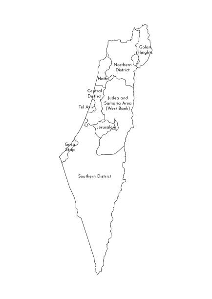 vektor isolierte abbildung der vereinfachten verwaltungskarte israels. grenzen und namen der bezirke (regionen). schwarze liniensilhouetten - haifa stock-grafiken, -clipart, -cartoons und -symbole
