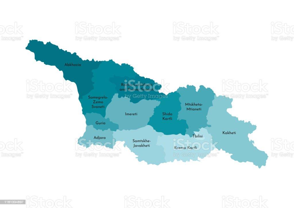 Georgien Karte Regionen.Vektor Isolierte Abbildung Der Vereinfachten Administrativen Karte