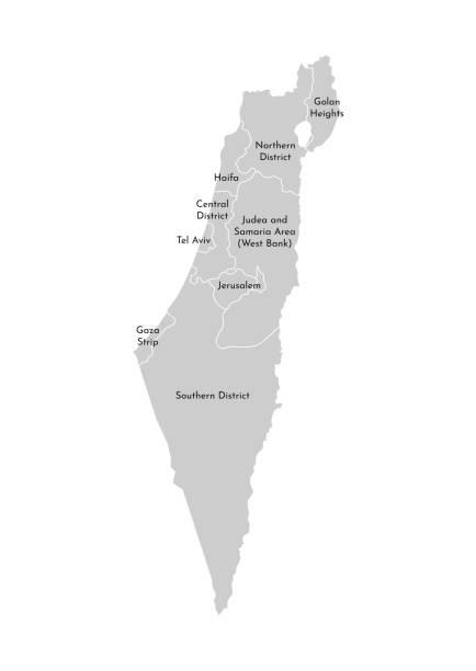 vektor isolierte abbildung der vereinfachten verwaltungskarte israels. grenzen und namen der bezirke (regionen). graue silhouetten. weißer umriss - haifa stock-grafiken, -clipart, -cartoons und -symbole