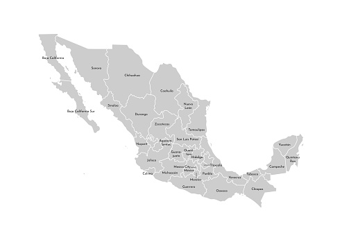 Vector isolated illustration of simplified administrative map of Mexico (United Mexican States). Borders and names of the provinces (regions). Grey silhouettes. White outline