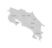 Vector isolated illustration of simplified administrative map of Costa Rica. Borders and names of the provinces (regions). Grey silhouettes. White outline