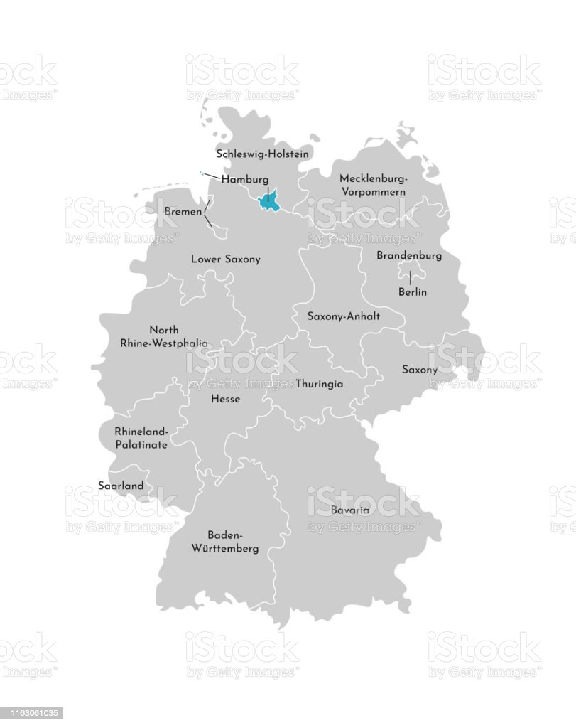 Map Of Germany Hamburg.Vector Isolated Illustration Of Simplified Administrative Map Of